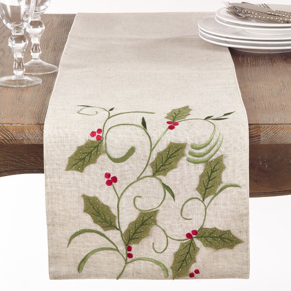 Drews Christmas Holly Leaf Applique Table Runner by The Holiday Aisle
