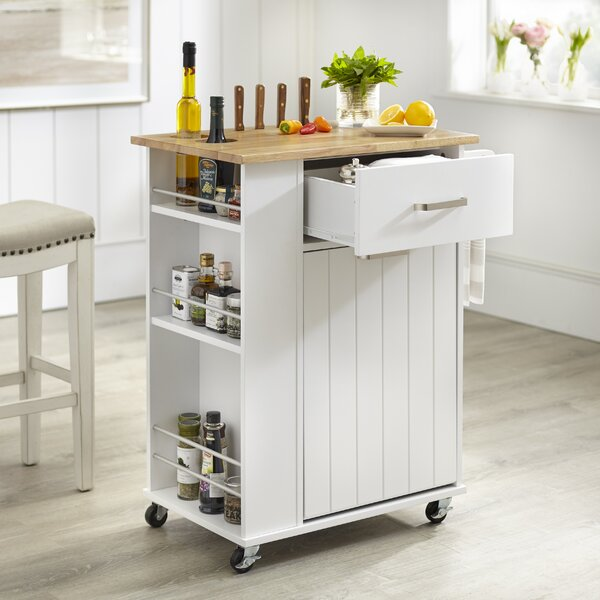 Toro Kitchen Cart with Solid Wood Top by Winston Porter Winston Porter