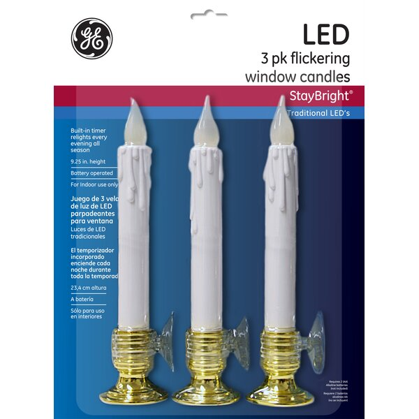 Nicolas Holiday Flickering Battery Operated Window Candle (Set of 3) by GE