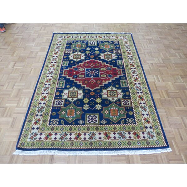 One-of-a-Kind Padula Hand-Knotted Wool Navy Blue Area Rug by Bloomsbury Market