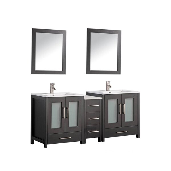 Larosa 60 Double Sink Bathroom Vanity Set with Mirror by Latitude Run