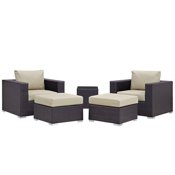 Ryele 5 Piece Rattan Conversation Set with Cushions by Latitude Run