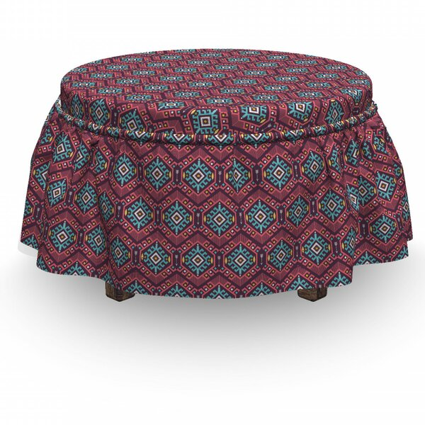 Tribal Hipster Tribal 2 Piece Box Cushion Ottoman Slipcover Set By East Urban Home