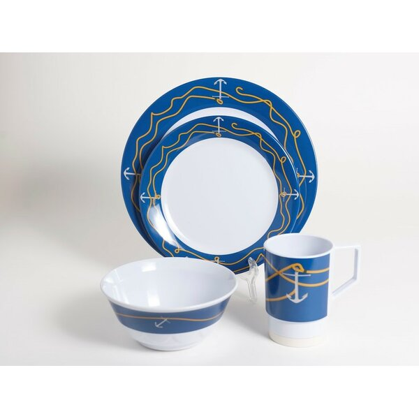 Decorated Anchorline Melamine 24 Piece Dinnerware Set, Service for 6 by Galleyware Company