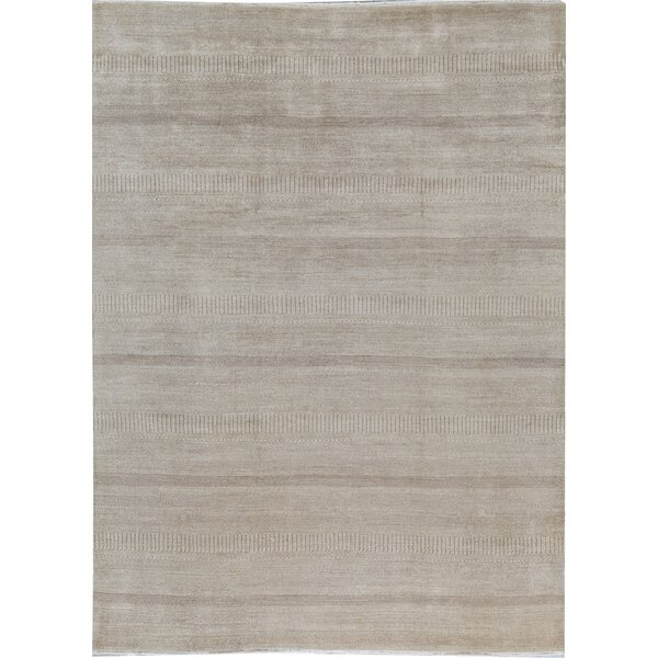 Geometric Hand-Knotted Wool Gray Area Rug