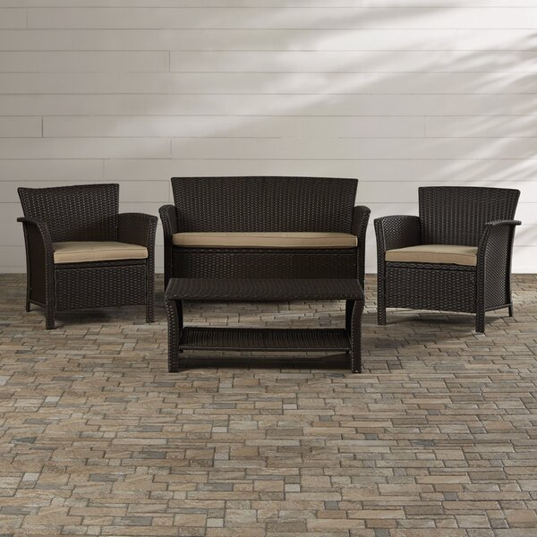 Livingston 4 Piece Rattan Sofa Set with Cushions by Mercury Row