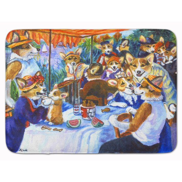 Corgi Boating Party Memory Foam Bath Rug by East Urban Home
