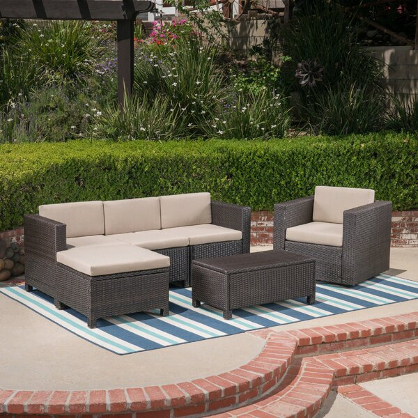 Furst Outdoor 6 Piece Sectional Seating Group with Cushions by Wade Logan