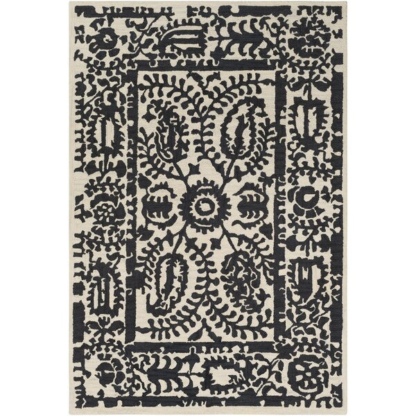 Montgomery Hand-Tufted Black/Cream Area Rug by Laurel Foundry Modern Farmhouse