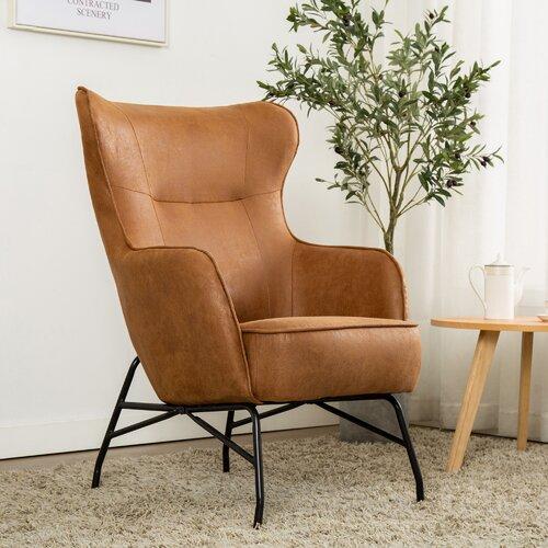 Matilda Wingback Chair Hykkon Colour: Tan