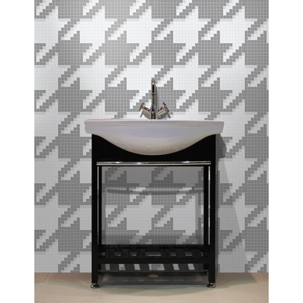 Urban Essentials Houndstooth 3/4 x 3/4 Glass Glossy Mosaic in Calm Grey by Mosaic Loft