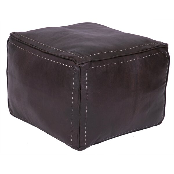 Lidiya Leather Pouf By Bungalow Rose
