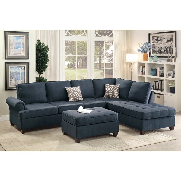 Reiche Reversible Sectional with Ottoman by Ebern Designs