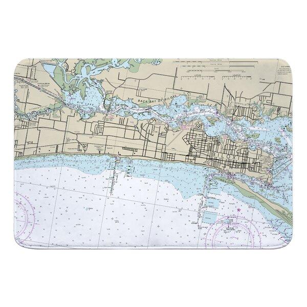 Nautical Chart Biloxi MS Rectangle Memory Foam Non-Slip Bath Rug