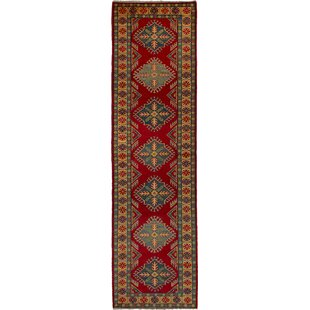 One-of-a-Kind Ahrens Hand-Knotted Wool Red/Blue Area Rug by Isabelline