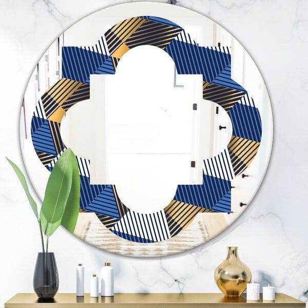 Waves V Quatrefoil Eclectic Frameless Wall Mirror
