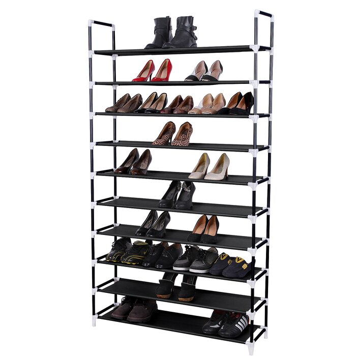 10 Tier 50 Pair Stackable Shoe Rack