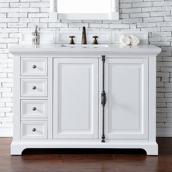 Ogallala 48 Single Undermount Sink Cottage White Bathroom Vanity Set by Greyleigh
