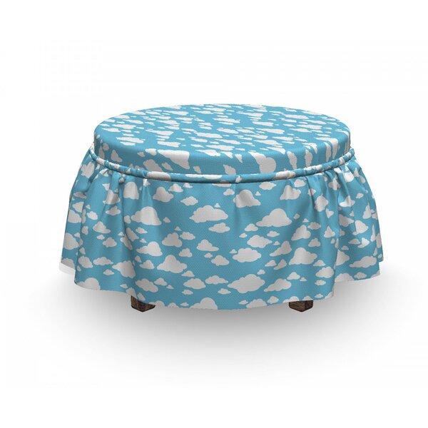 Clear Summer Sky 2 Piece Box Cushion Ottoman Slipcover Set By East Urban Home