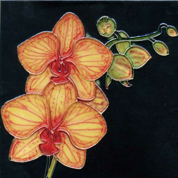 2 Yellow Orchid Flowers on a Stem Tile Wall Decor by Continental Art Center
