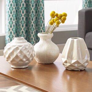 Carmona 3 Piece Ceramic Table Vase Set