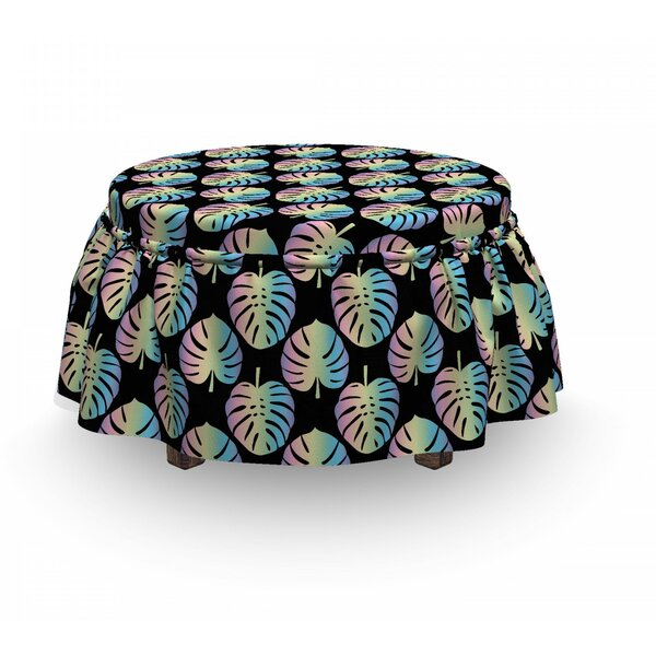 Monsteras Tropical Ottoman Slipcover (Set Of 2) By East Urban Home