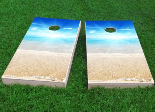 Beach Sun Cornhole Game (Set of 2) by Custom Cornhole Boards