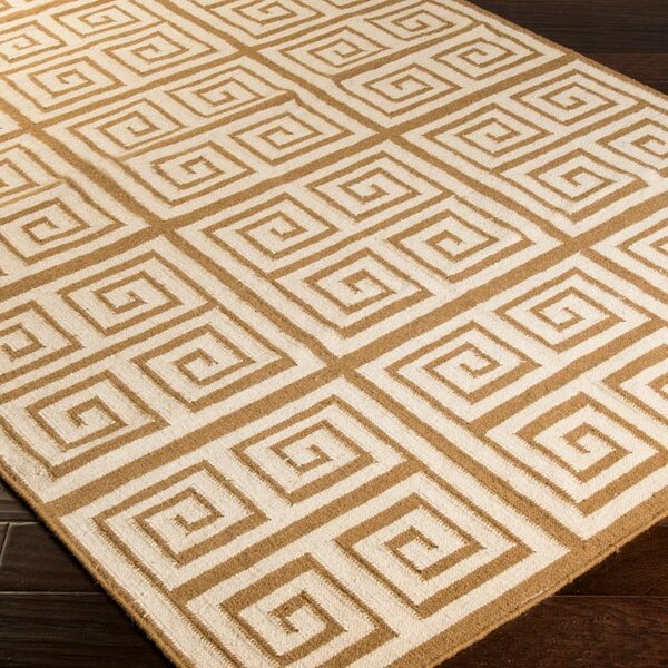 Lowery Raw Umber/Ivory Geometric Area Rug by Ebern Designs