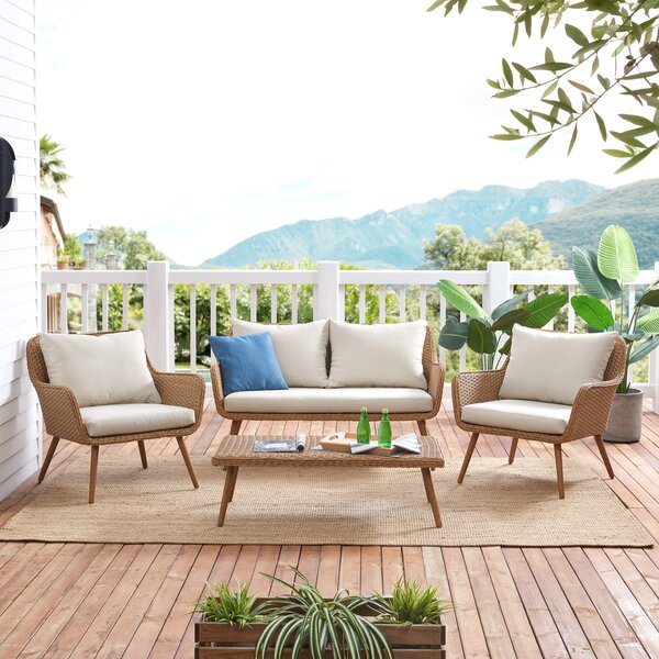 Macdougall Outdoor 4 Piece Sofa Seating Group with Cushions by George Oliver
