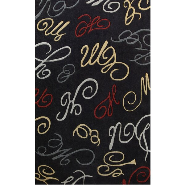 Symphony Black Abstract Swirls Area Rug by Dynamic Rugs