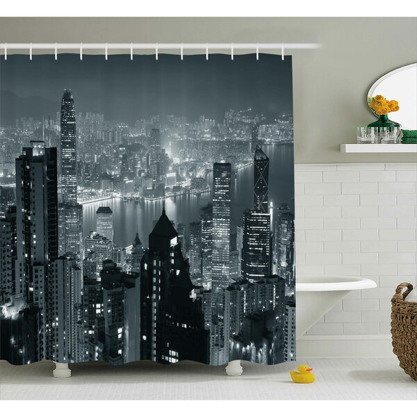 Joann City Aerial Night of View Hong Kong Skyline Famous Modern Urban Town Metropolis Panorama Shower Curtain by Ebern Designs