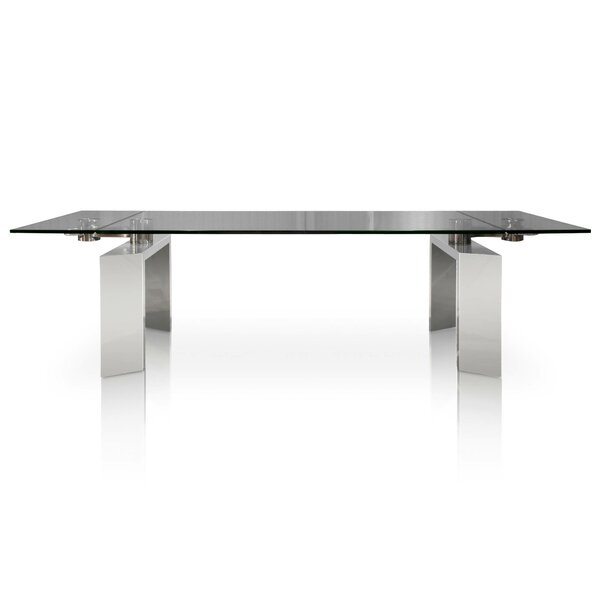 Arche Extendable Glass Top Dining Table by Orren Ellis