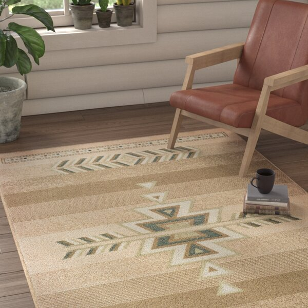 Brubaker Ivory/Light Brown/Blue Area Rug by Union Rustic