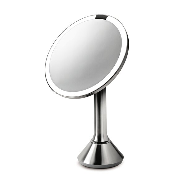 Sensor Makeup Mirror 8 Round, 5x Magnification, Stainless Steel by simplehuman