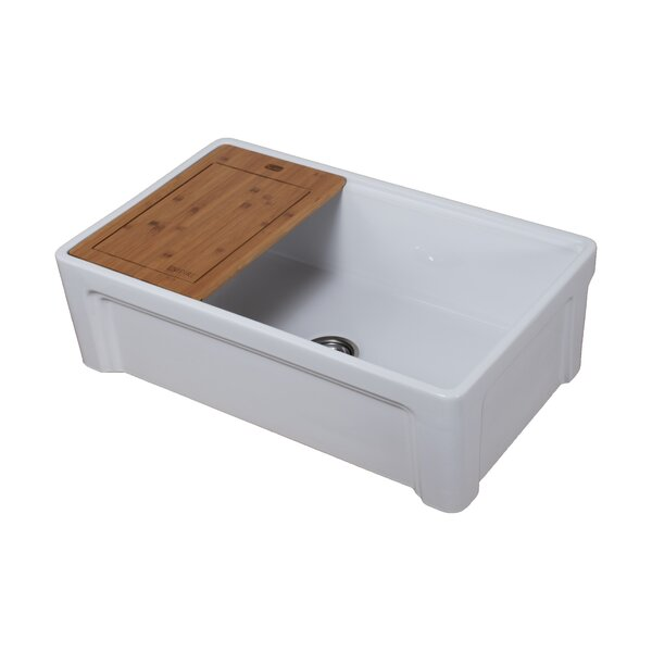 Tosca Fireclay 30 L x 10 W Farmhouse Kitchen Sink with Bottom Grid and Strainer by Empire Industries