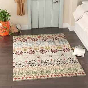 Kouerga Hand-Tufted Wool Beige Area Rug by Bungalow Rose