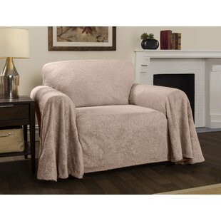Plush Damask Throw Armchair Slipcover