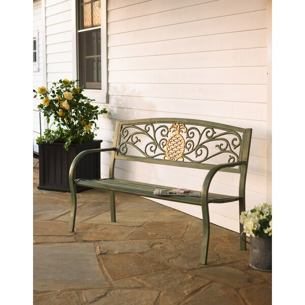 Quintin Pineapple Aluminum Garden Bench by Bayou Breeze