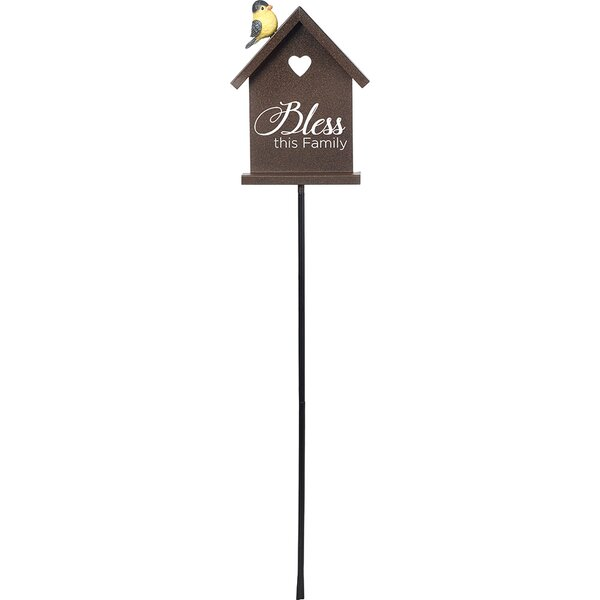 Bless This Family Decorative Metal Garden Stake with Resin Bird Accent Yard Decor by Precious Moments