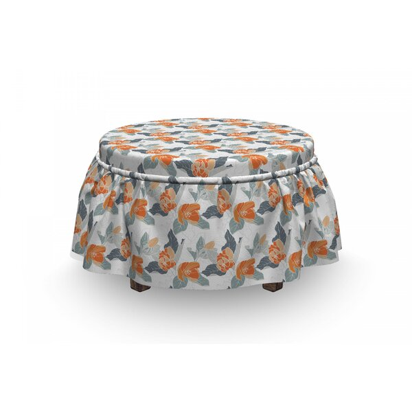 Apple Buds Blossoms Ottoman Slipcover (Set Of 2) By East Urban Home