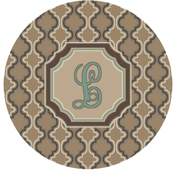 Lanikai Monogrammed Turquoise/Brown Area Rug by Red Barrel Studio