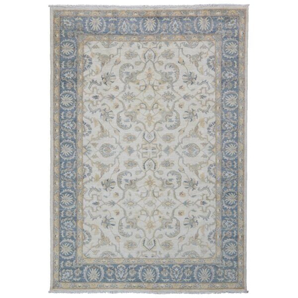 One-of-a-Kind Keenum Peshawar Oriental Hand-Knotted Wool Beige/Blue Area Rug by Isabelline
