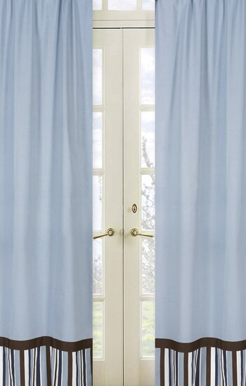 Starry Night Striped Semi-Sheer Rod pocket Curtain Panels (Set of 2) by Sweet Jojo Designs