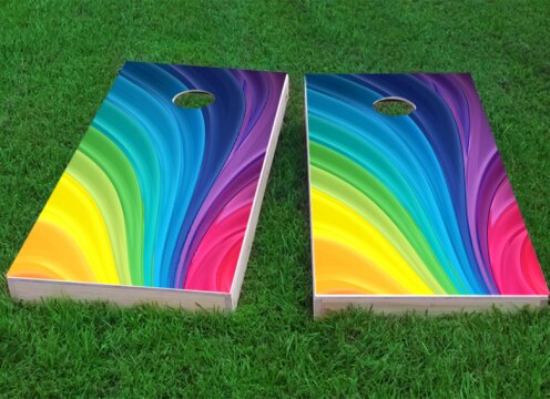 Rainbow Cornhole Game (Set of 2) by Custom Cornhole Boards