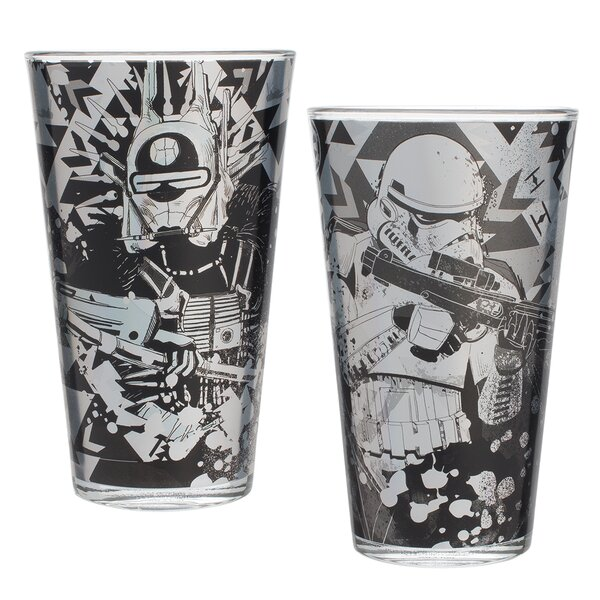 Star Wars Laser Decal 16 oz. Glass 2 Piece Every Day Glasses Set (Set of 2) by Vandor LLC