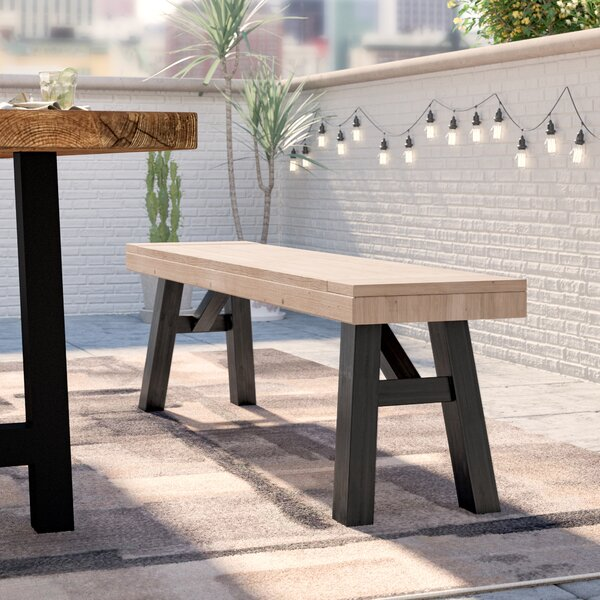 Poirier Outdoor Wooden Picnic Bench by 17 Stories 17 Stories