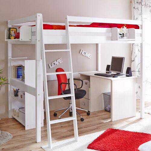 Hochbett Tanja mit Schrägleiter  140 x 200 cm | Kinderzimmer > Kinderbetten > Hochbetten | Weiß | Massiver - Buche - Holz | TICAA