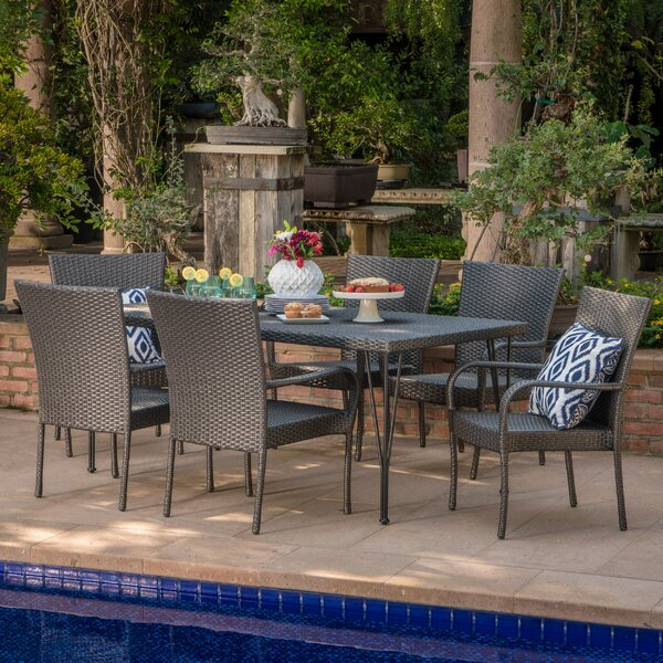 Patty Outdoor Wicker 7 Piece Dining Set by Ophelia & Co.