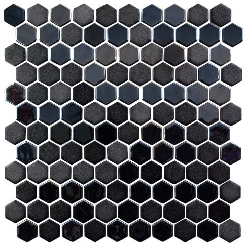 Onix 1 x 1 Glass Mosaic Tile in Gray/Gunmetal by Madrid Ceramics