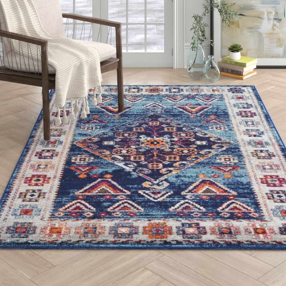 Sylvain Ivory Teal Area Rug Reviews